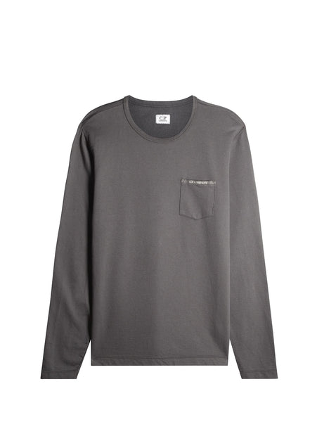 C.P. Company Garment Dyed Pocket Sweatshirt in Grey