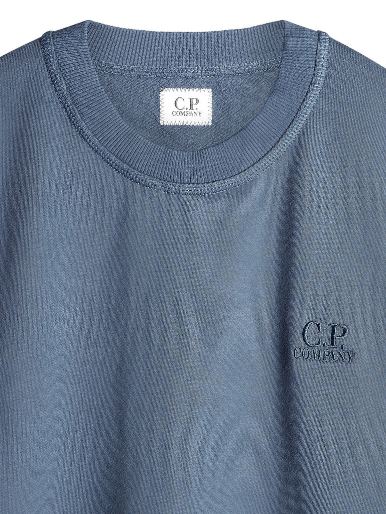 C.P. Company Mako Fleece Logo Sweatshirt in Light Blue