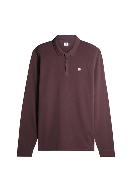 C.P. Company Long Sleeve Light Fleece Polo in Plum