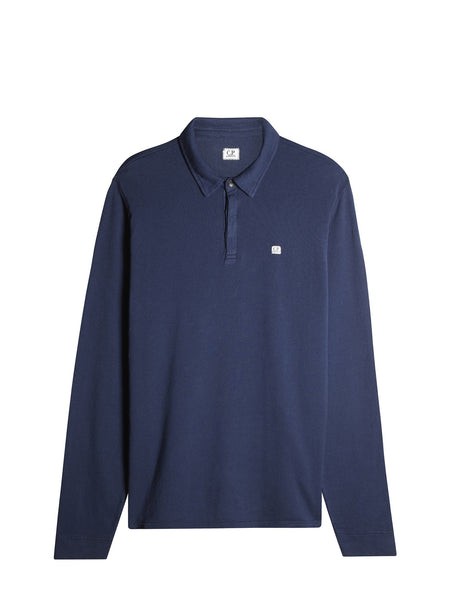C.P. Company Long Sleeve Light Fleece Polo in Blue