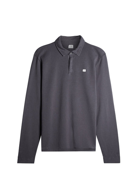 C.P. Company Long Sleeve Light Fleece Polo in Grey