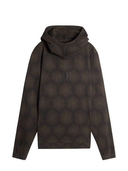 C.P. Company Hooded Optical Pattern Sweatshirt in Brown