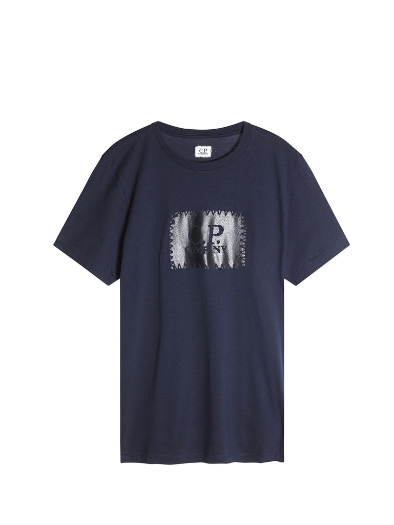 C.P. Company Graphic Label Print T-Shirt in Navy