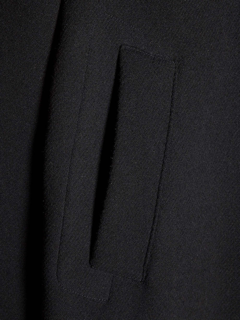 C.P. Company Wool Melton Overcoat In Black