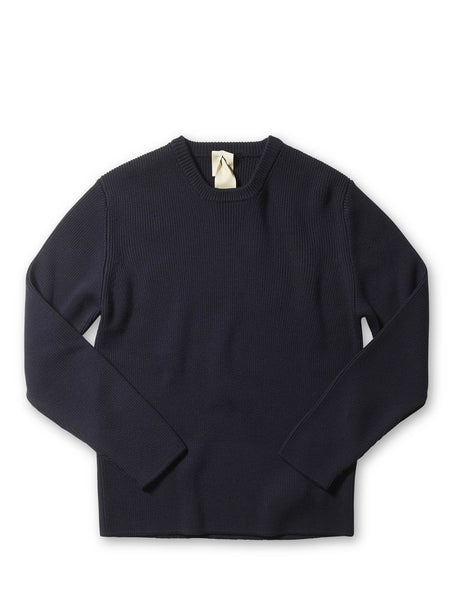 Ten c / Round Neck Knitted Jumper in Navy