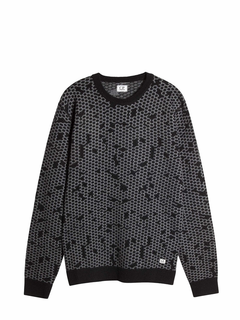 C.p. Company Jacquard Lambswool Sweater in Black