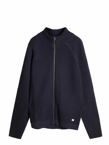 C.P. Company Fast Dyed Full Zip Merino Wool Knit In Navy
