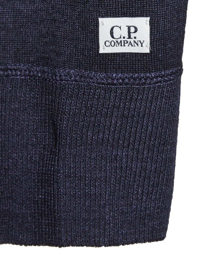 C.P. Company Fast Dyed 14-Gauge Merino Wool Zip Knit in Blue