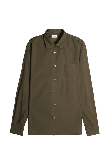 C.P. Company Cotton Long Sleeve Regular-Fit Shirt in Khaki