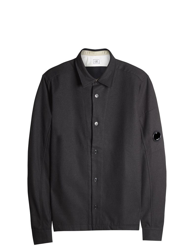 C.P. Company Light Felt Arm Lens Overshirt in Black