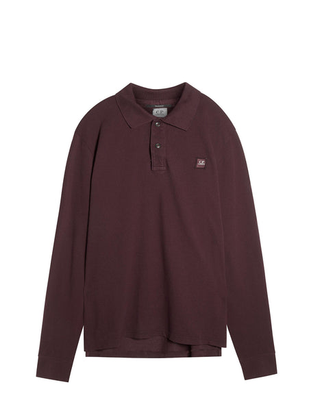 C.P. Company Long Sleeve Polo Shirt in Burgundy