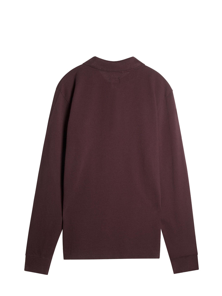 C.P. Company Cotton Pique Long Sleeve Polo Shirt in Burgundy