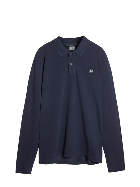 C.P. Company Long Sleeve Polo Shirt in Navy Blue