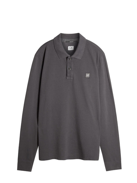 C.P. Company Long Sleeve Polo Shirt in Grey