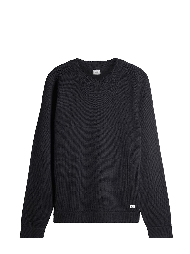 C.P. Company Ribbed Crew Neck Knitwear in Black