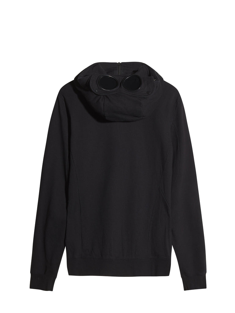 C.P. Company Diagonal Fleece Goggle Hooded Sweatshirt in Black