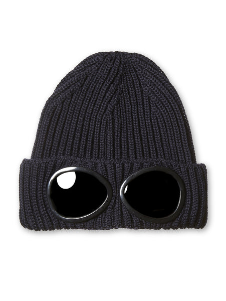 C.P. Company Merino Wool Goggle Hat in Navy Blue
