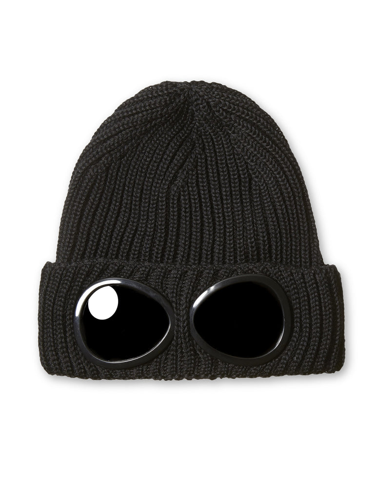 C.P. Company Merino Wool Goggle Hat in Black