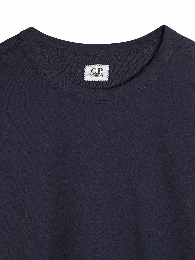 C.P. Company Garment Dyed Light Fleece Crewneck Sweatshirt in Blue