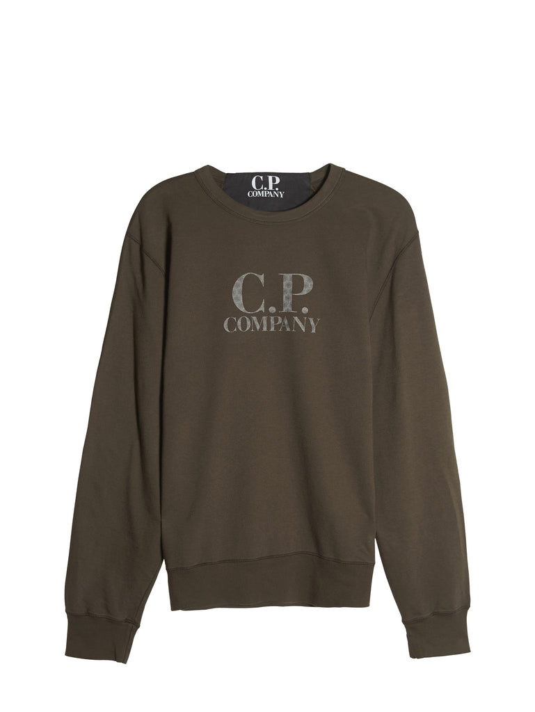 C.P. Company Light Fleece Logo Crew Sweatshirt in Green