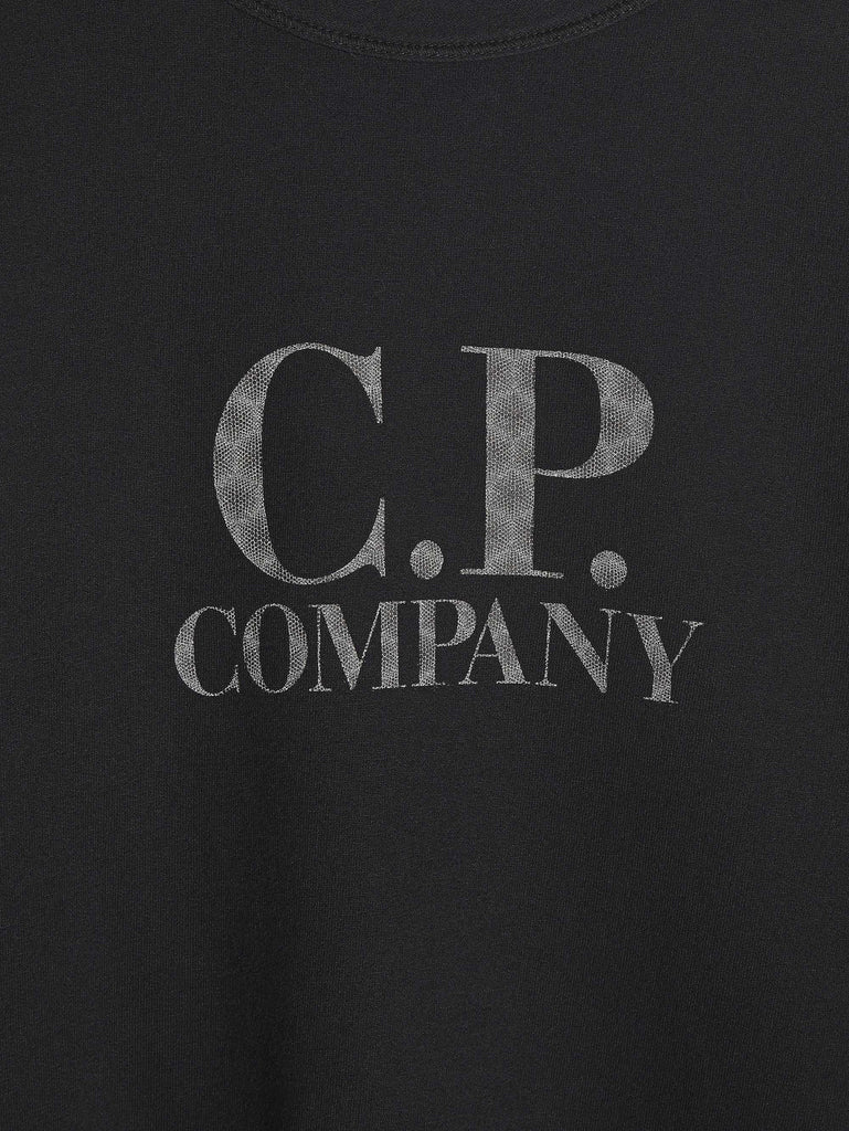 C.P. Company Light Fleece Logo Crew Sweatshirt in Black