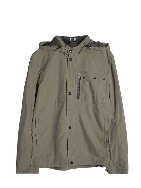 C.P. Company Goggle Hooded Overshirt in Green