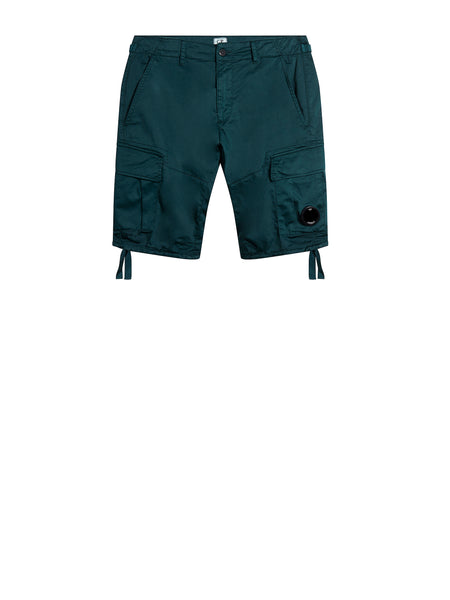 Stretch Sateen Lens Cargo Shorts in Green Gables