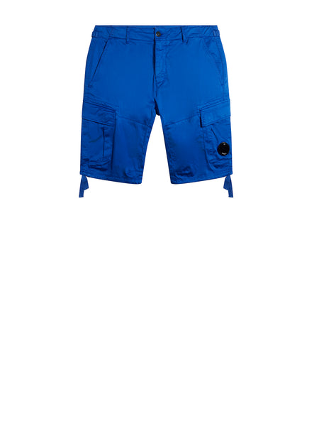 Stretch Sateen Lens Cargo Shorts in Dazzling Blue