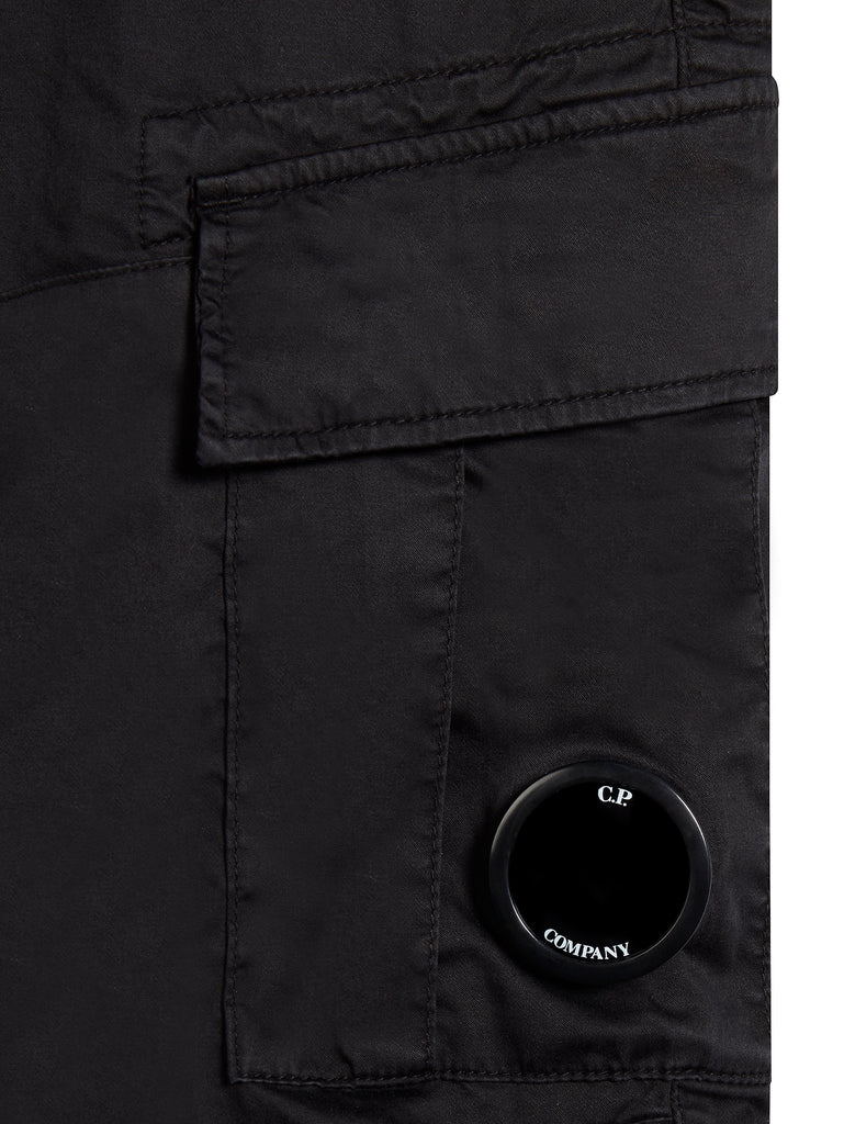Stretch Sateen Cargo Shorts in Total Eclipse