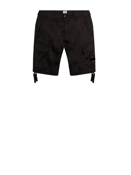 Stretch Sateen Lens Cargo Shorts in Caviar Black