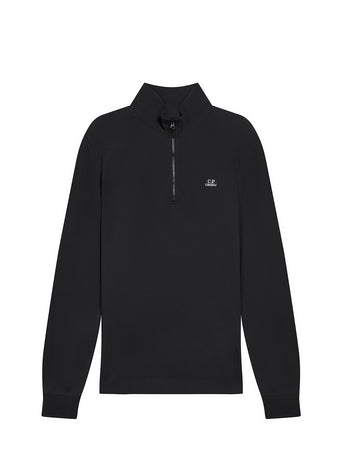 Stretch Pique Quarter Zip Long Sleeve Polo in Black