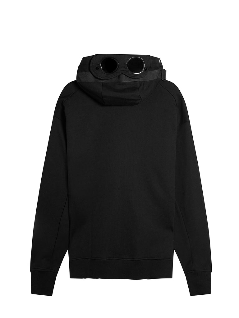 Diagonal Raised Fleece Concealed Goggle Full Zip Hoodie in Black