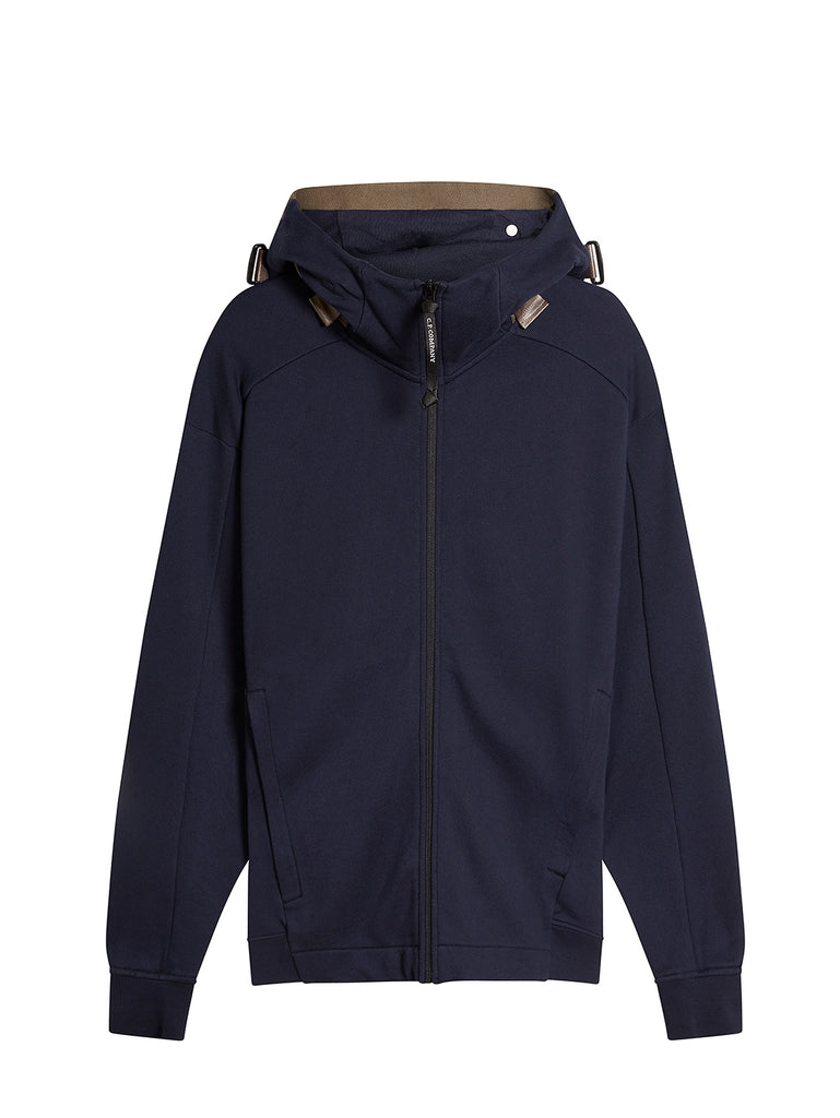 Diagonal Raised Fleece Concealed Goggle Full Zip Hoodie in Total Eclipse