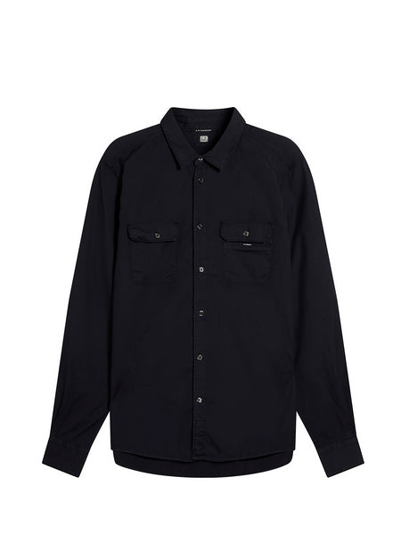 Cotton Chest Pocket Shirt in Total Eclipse