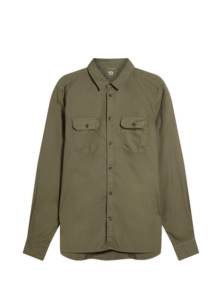 Cotton Chest Pocket Shirt in Green