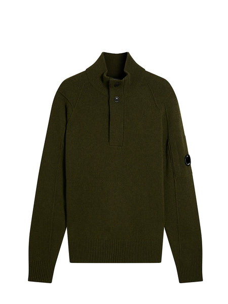 Lambswool Lens Sleeve Funnel Neck Jumper in Dark Olive