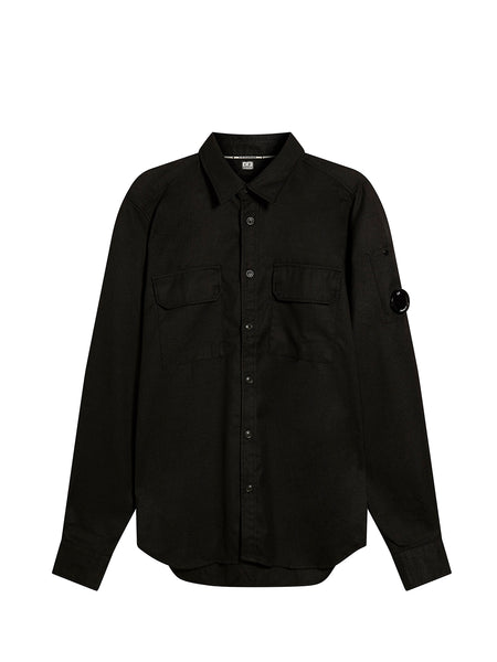 GD Cotton Gaberdine Lens Sleeve Shirt in Black