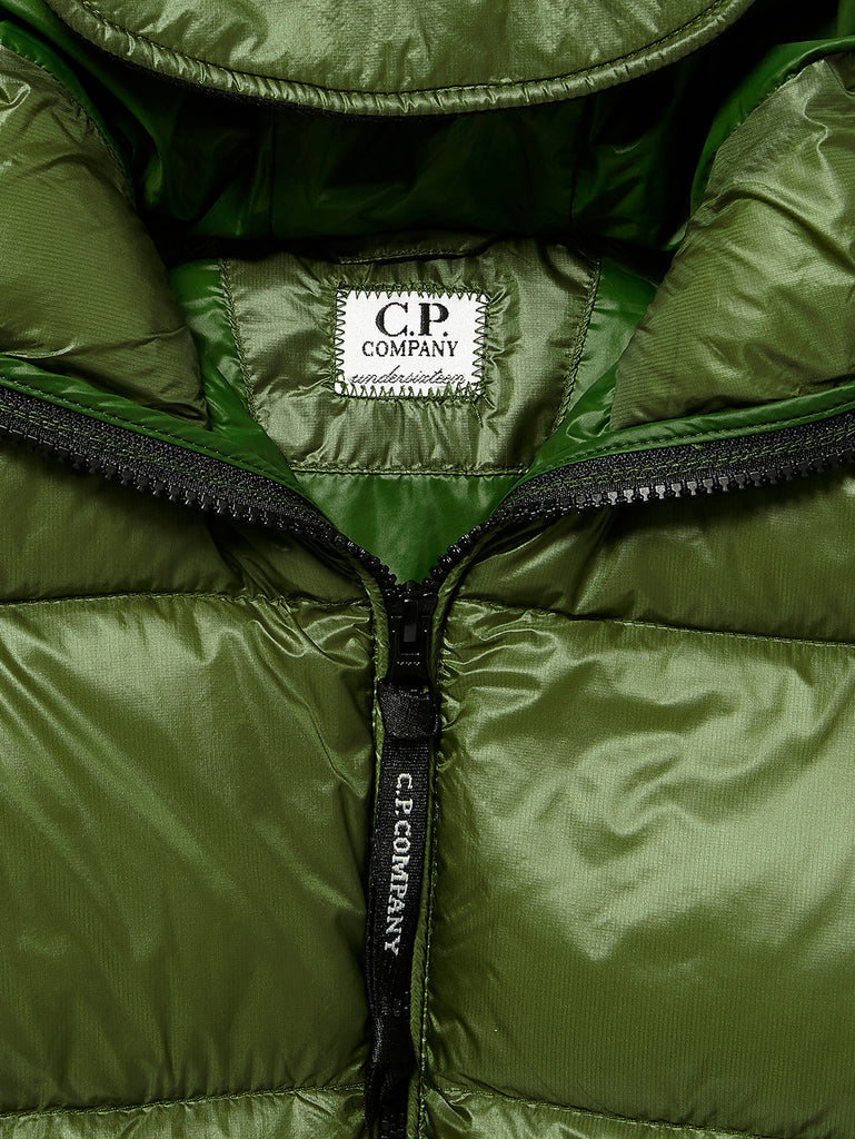 Undersixteen Zip Goggle Hood Puffer Jacket in Pesto