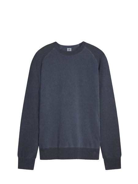 C.P. Company Garment Dyed Cotton Crew Neck Sweater in Blue