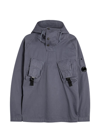 Garment Dyed Emerized Gabardine Lens Utility Hoodie in Ombre Blue