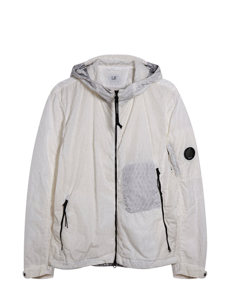Air-Net Lightweight Hooded Jacket in Tapioca White