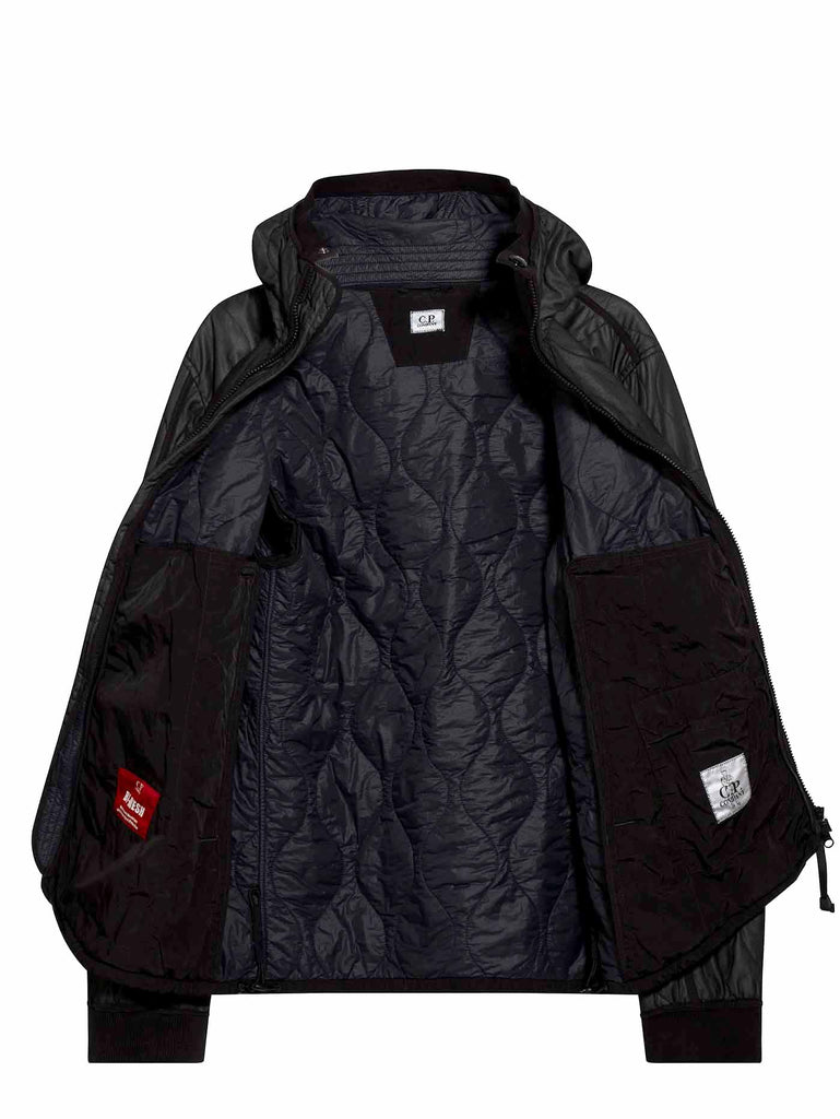 Bi-Mesh Quilted Hooded Jacket in Black