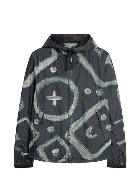 Indigo 50 A.C.E. Print Hooded Jacket in Insignia Blue