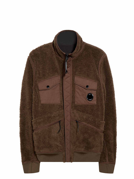 Reversible Lens Pocket Zip Fleece in Brown