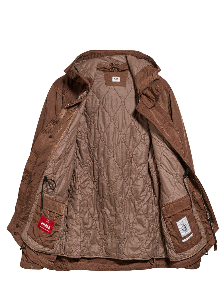 Nylon B. Multi-Pocket Goggle Hooded Jacket in Ermine Brown