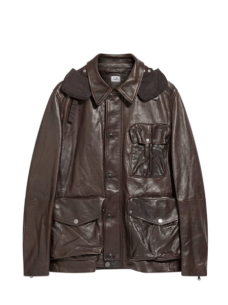 Goggle Hood Leather Jacket in Coffee Brown