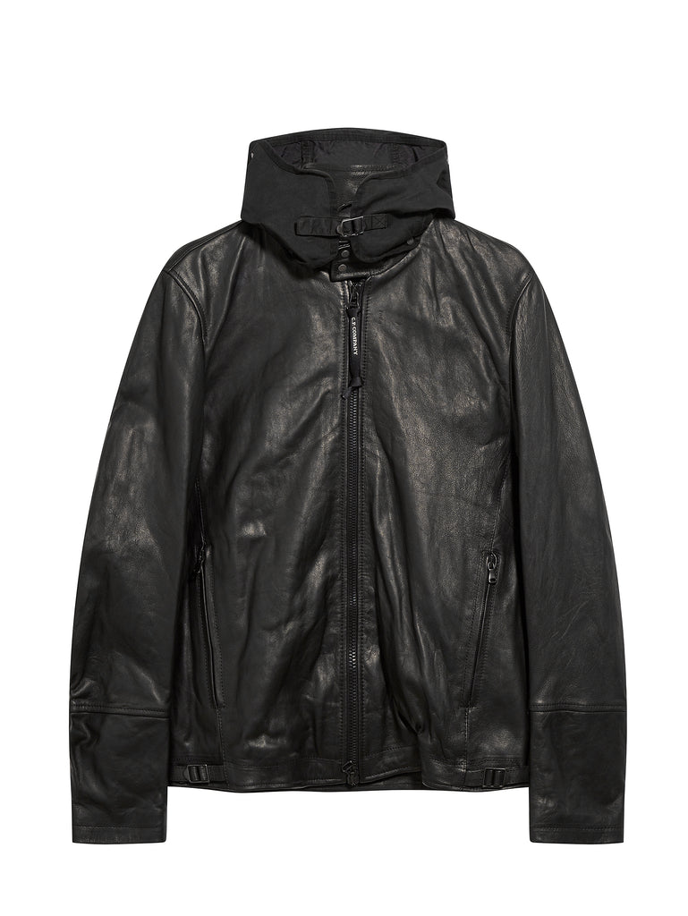 Goggle Hood Leather Bomber Jacket in Black