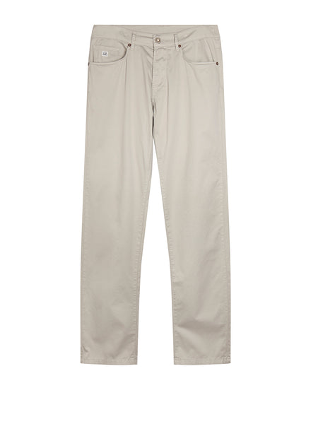 Garment Dyed Stretch Sateen Five Pocket Chino in Paloma Grey