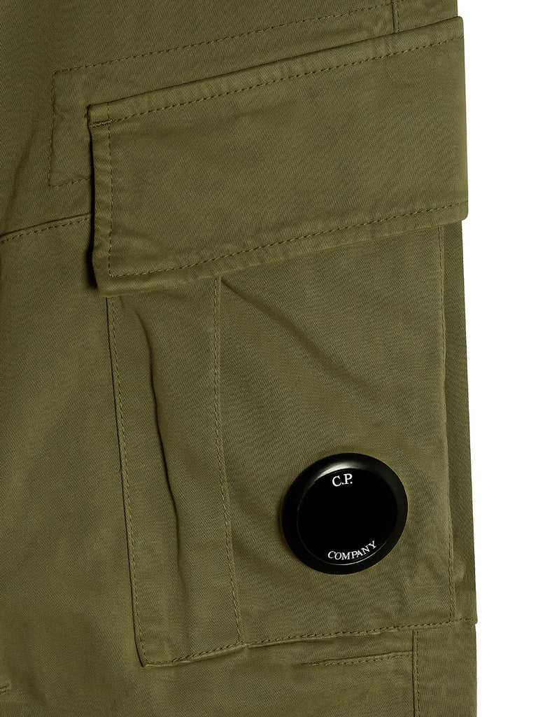Garment Dyed Stretch Sateen Fitted Lens Pocket Pants in Ivy Green