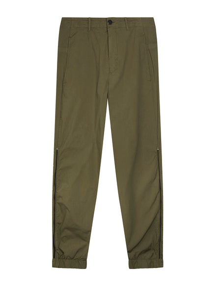 Garment Dyed Stretch Cotton Trouser in Dark Olive